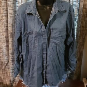 Charlotte Russe chambray top adj sleeve Large